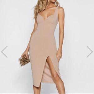 NastyGal Nude Bodycon Dress